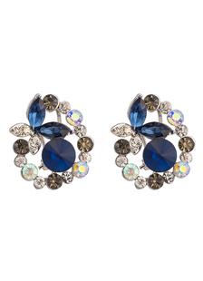 Image of Stud Vintage Orecchini Blu Royal strass cristallo orecchio Jacke