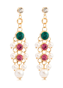 Image of Orecchini pendenti oro lega Stud tagliare orecchini perle strass