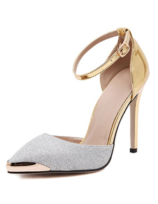 Image of Glitter tacchi alti alla caviglia punte Toe pompe scarpe da donna con dettagli in metallo