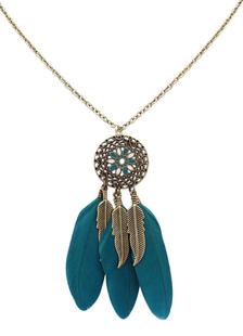 Image of Collana Boho Feather Fringe lega fiore collana per le donne