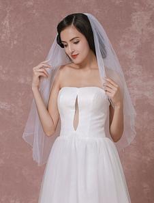 Image of Due livelli di nozze velo Tulle bordo in perle perline velo da sposa