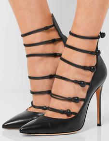 Image of Decolletes nere Strappy Stiletto partito donna scarpe tacchi alti a mano forma appuntita