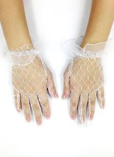 White Wedding Tüll Net Fingerspitzen Rüsche Handgelenk Länge Braut Handschuhe