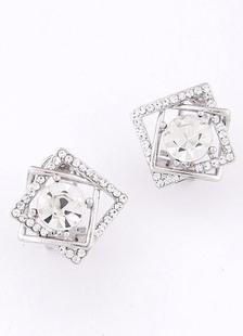 Image of Orecchini argento in lega strass geometrico orecchini sposa per le donne