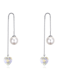 Image of Orecchini da sposa bianco orecchini orecchio linea cuore Crystal