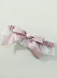 Image of Carne giarrettiera da sposa in Organza e perle raso nozze giarrettiera con fiocco