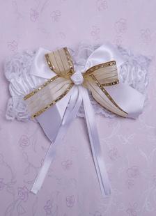 Image of Giarrettiera in pizzo giarrettiera da sposa fiore bianco grande fiocco in raso da sposa