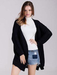 black-cardigan-sweater-pregnant-clothing-open-fornt-knit-wear