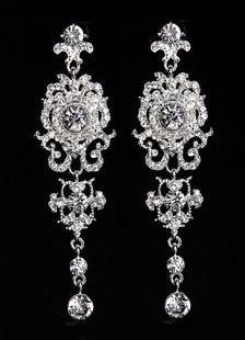 Image of Matrimonio orecchini orecchini nuziale di strass argento trafitto