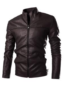 Image of Giacca nera PU pelle collo alto con Zip uomo Giacche e cappotti