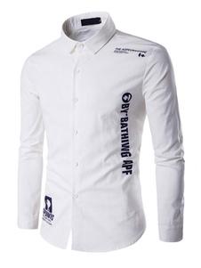 Image of Camicia bianca maniche lunghe lettere uomo stampato camicia Casual