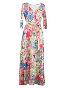 Abito Maxi V collo 3/4 lunghezza manica Lace donna Up abito lungo stampa floreale