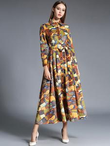 Image of Diffusione collo pulsante abito lungo Vintage floreale stampa Maxi abito donna inverno abito plissettato con Sash