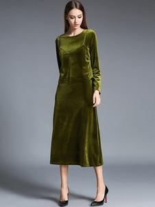 Robe longue vert en velours de soie unicolore moulant col rond