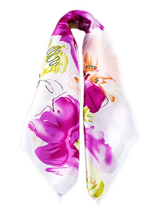 Image of Lilla sciarpa foulard floreale stampato sciarpa breve delle donn