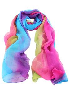 Image of Sciarpa di Chiffon colore blocco leggera sciarpa Multicolor donn