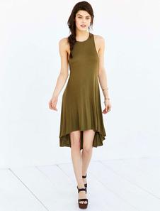 Alto bajo vestido verde cuello redondo sin mangas algodón mezcla verano vestido camisero para las mujeres