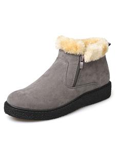 Image of Stivaletti in camoscio grigio punta tonda alta Top inverno stivali