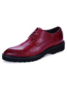 Image of Casual scarpe stringate rosso mandorla scarpe piano