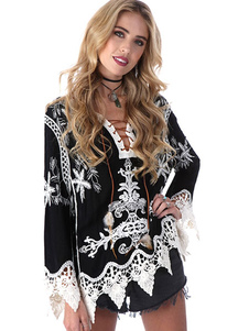 Blusa De fibras de algodón con cuello en V con manga larga con estampado con diseño hueco estilo moderno
