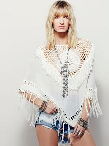 Image of Copricostumi bianco rotondo collo Crochet Poncho Swimwear con nappine