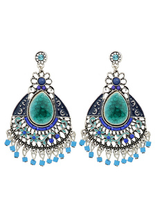 Image of Bohemien lega orecchino di goccia blu donne