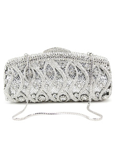 wedding-clutch-handbags-glitter-silver-bridal-purses-chain-strap-luxurious-prom-evening-bags