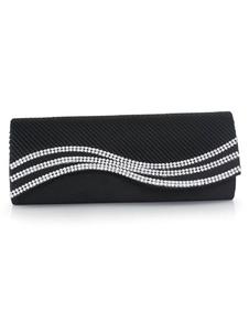 Image of Nuziale frizione borse nero strass raso plissettato busta borse