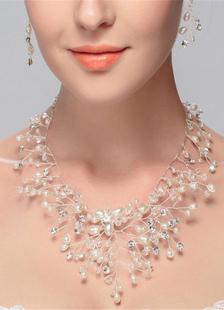 Blanco de la boda diamantes de imitación de joyería nupcial collar de perlas
