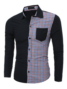 Image of Camicia due tono Plaid couverture collare maniche lunghe Camicia Slim Fit cotone Casual uomo