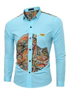 Image of Cotone camicia oceano blu Turndown collo manica lunga uomo Slim Fit Camicia Casual