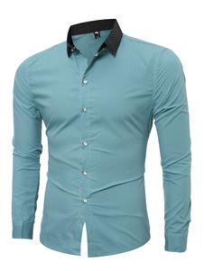 Cotone camicia verde Turndown collo manica lunga uomo Slim Fit Camicia Casual