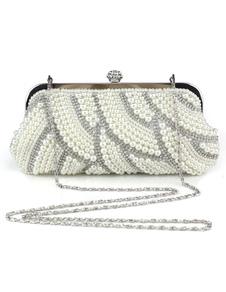 Image of Sera pochette perle sera bianco borse strass catena cinghia bors