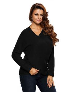 Image of Pullover nero maglione V collo manica lunga maglione Casual per le donne