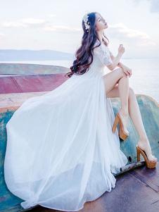 Abito lungo bianco pizzo fiore Applique V collo manica corta Split Semi velato Maxi Dress Donna