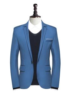 Image of Giacca casual da uomo con blazer blu con bottoni a un bottone