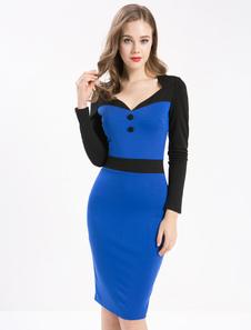 V Neck robe fourreau Vintage robe bleue Bodycon Long Sleeve féminin