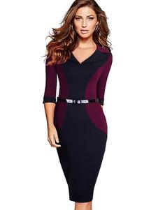Contraste couleur robe fourreau manches 3/4 rétro Vintage Bodycon Dress V cou féminin