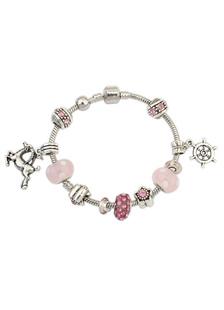 Image of Cavallo timone ciondolo rosa Charm Bracciale donna bracciale braccialetti di perline