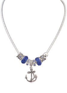 Blue Charm Necklace Women`s Rhinestone Beaded Anchor Pendant Necklace