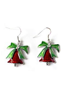 Image of 2 colori rosso Natale orecchini donna orecchini