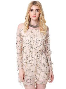 Image of Paillettes abito bianco donna Off spalla manica lunga illusione Abito corto con nappine