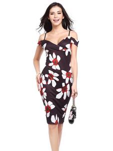 Robe Bodycon Strappy manches courtes coton imprimé Floral robe fourreau femmes