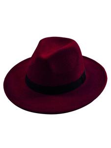 Image of Unisex Cappello Fedora nero cappello di feltro con banda larga