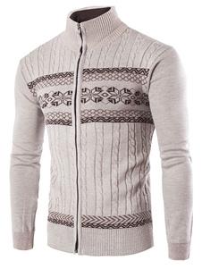 Image of Cardigan Maglione Zip uomo Up Stand collare Casual cavo maglia maglione giacca