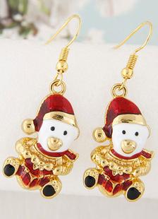 Image of Orecchini di donne natale dell'oro Orecchini pupazzo di neve pendente gioielli