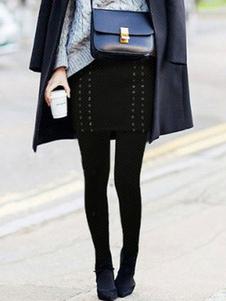 black-skirted-leggings-fleece-lined-women-grommets-deco-skinny-leggings