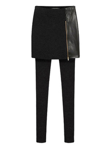 skinny-skirt-leggings-black-women-elastic-waist-pu-leather-zip-deco-tight-pants