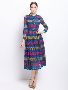 Image of Gioiello collo Midi vestito di pizzo abito striscia blu manica 3/4 di donne