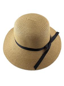 Image of Cappello da sole paglia Cloche cappello donna con fiocco Band